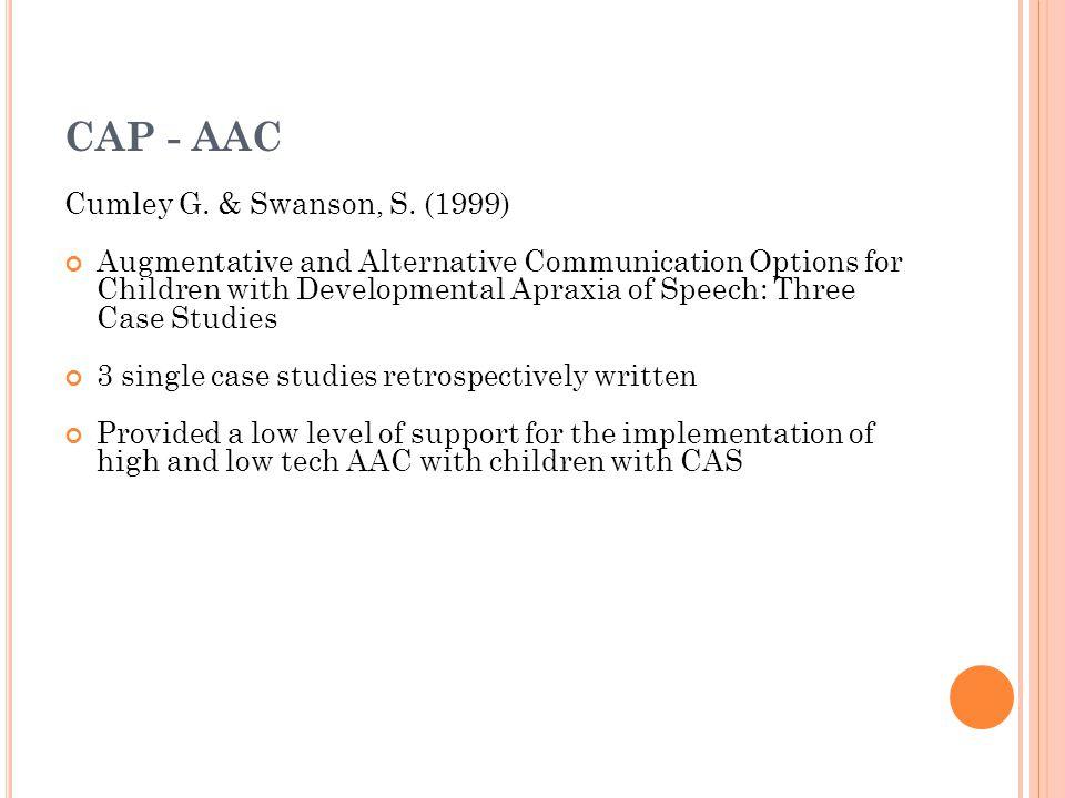 CAP - AAC Cumley G. & Swanson, S. (1999)