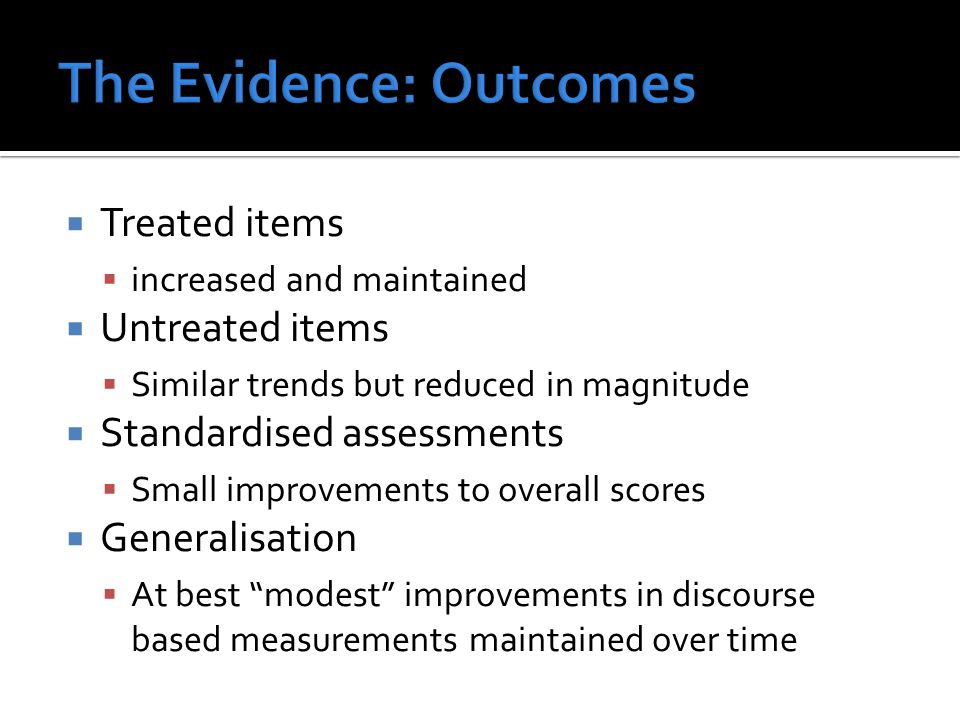 The Evidence: Outcomes