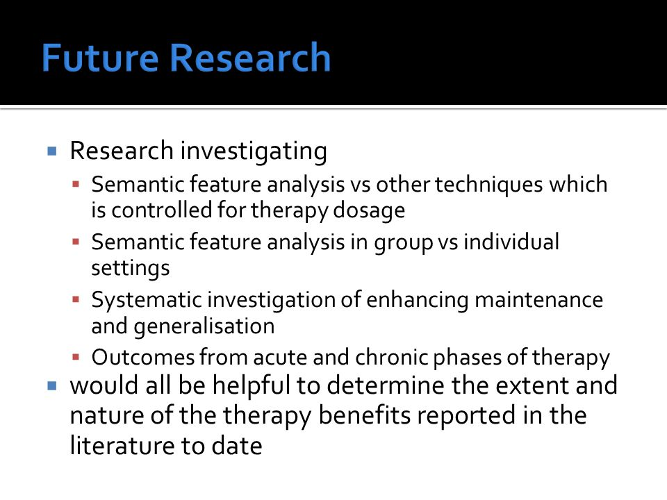 Future Research Research investigating