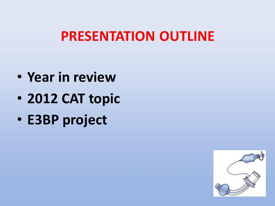 PRESENTATION OUTLINE Year in review 2012 CAT topic E3BP project