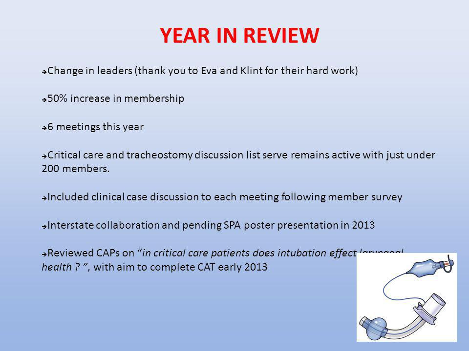 YEAR IN REVIEW Change in leaders (thank you to Eva and Klint for their hard work) 50% increase in membership.