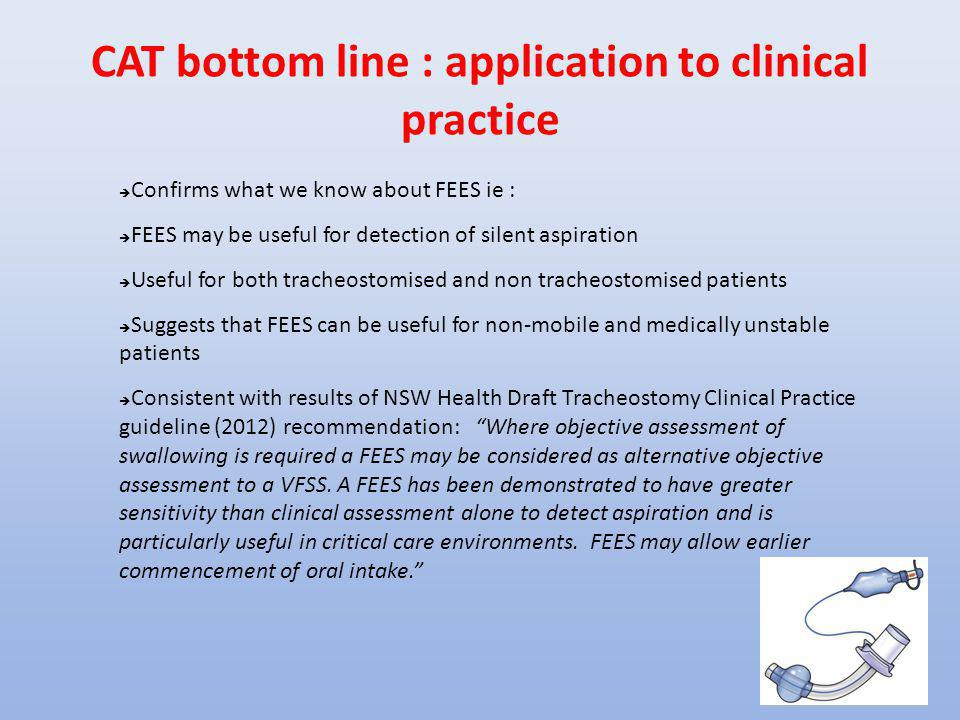 CAT bottom line : application to clinical practice