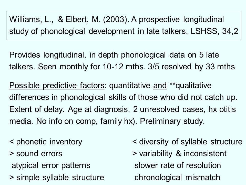 Williams, L., & Elbert, M. (2003). A prospective longitudinal