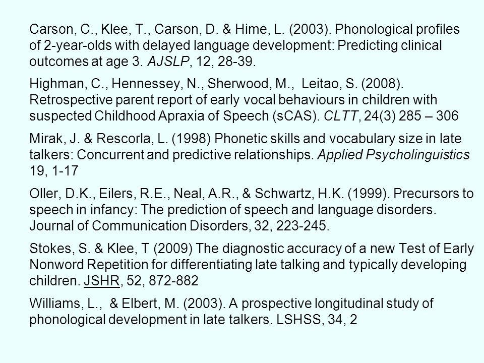Carson, C. , Klee, T. , Carson, D. & Hime, L. (2003)