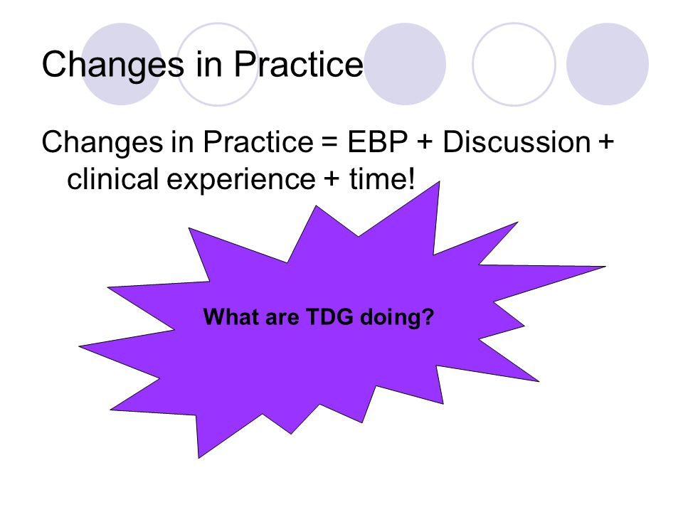 Changes in Practice Changes in Practice = EBP + Discussion + clinical experience + time.
