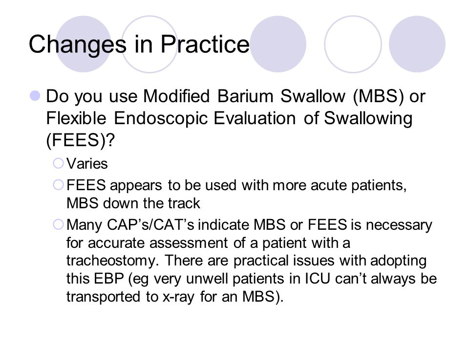 Changes in Practice Do you use Modified Barium Swallow (MBS) or Flexible Endoscopic Evaluation of Swallowing (FEES)