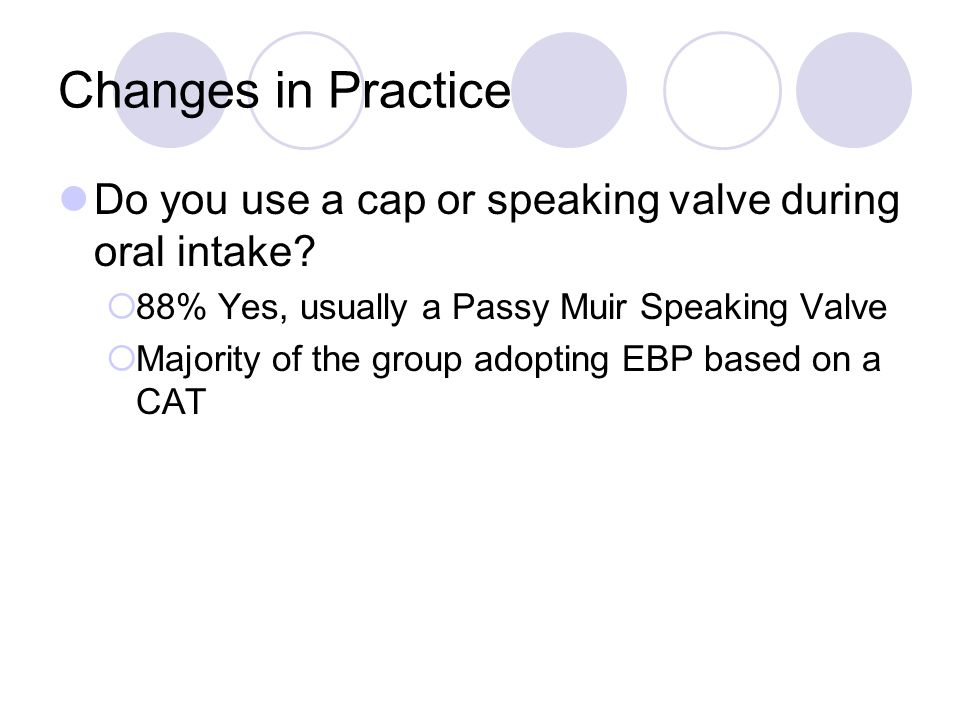 Changes in Practice Do you use a cap or speaking valve during oral intake 88% Yes, usually a Passy Muir Speaking Valve.