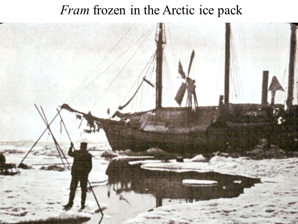 Fram frozen in the Arctic ice pack