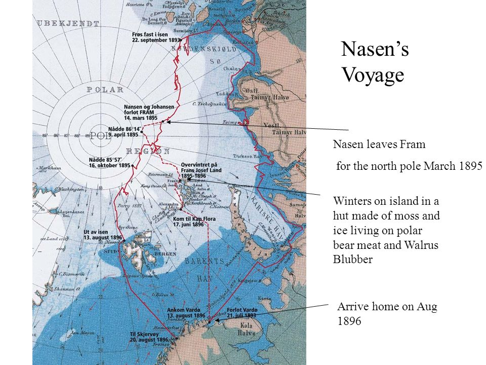 Nasen's Voyage Nasen leaves Fram for the north pole March 1895