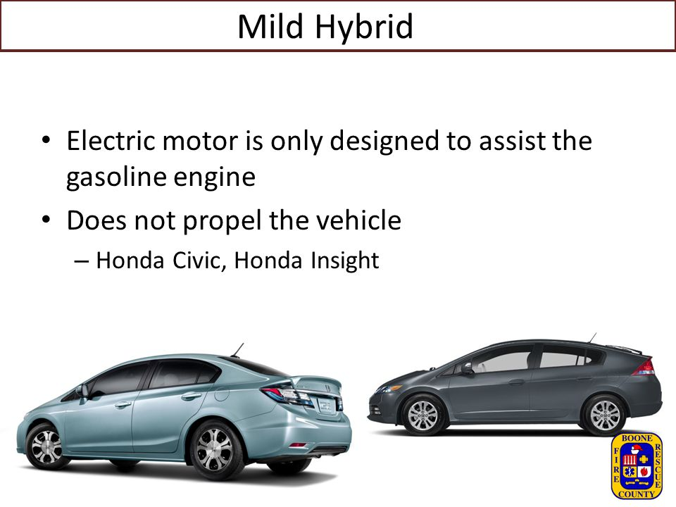 Mild Hybrid Electric motor is only designed to assist the gasoline engine. Does not propel the vehicle.