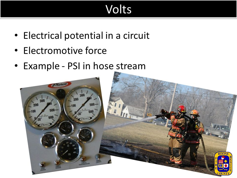 Volts Electrical potential in a circuit Electromotive force