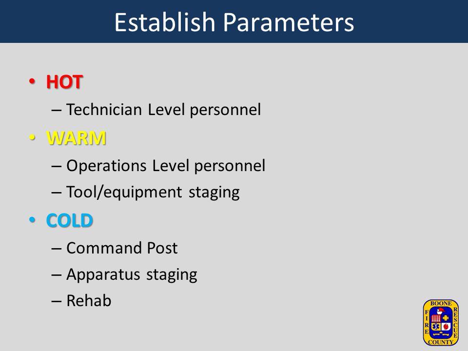 Establish Parameters HOT WARM COLD Technician Level personnel