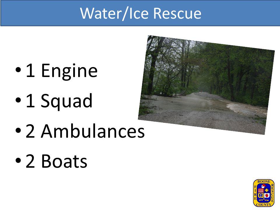 Water/Ice Rescue 1 Engine 1 Squad 2 Ambulances 2 Boats