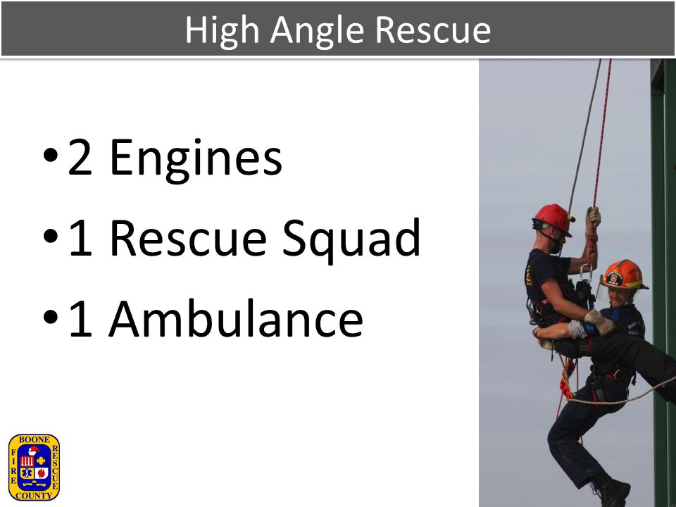High Angle Rescue 2 Engines 1 Rescue Squad 1 Ambulance