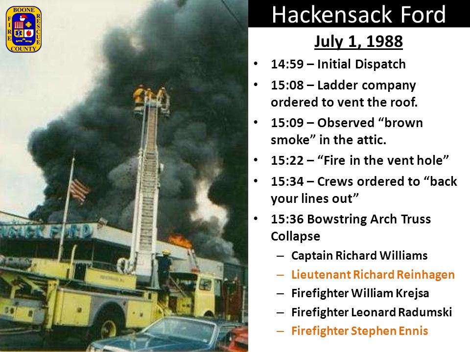 Hackensack Ford July 1, 1988 14:59 – Initial Dispatch