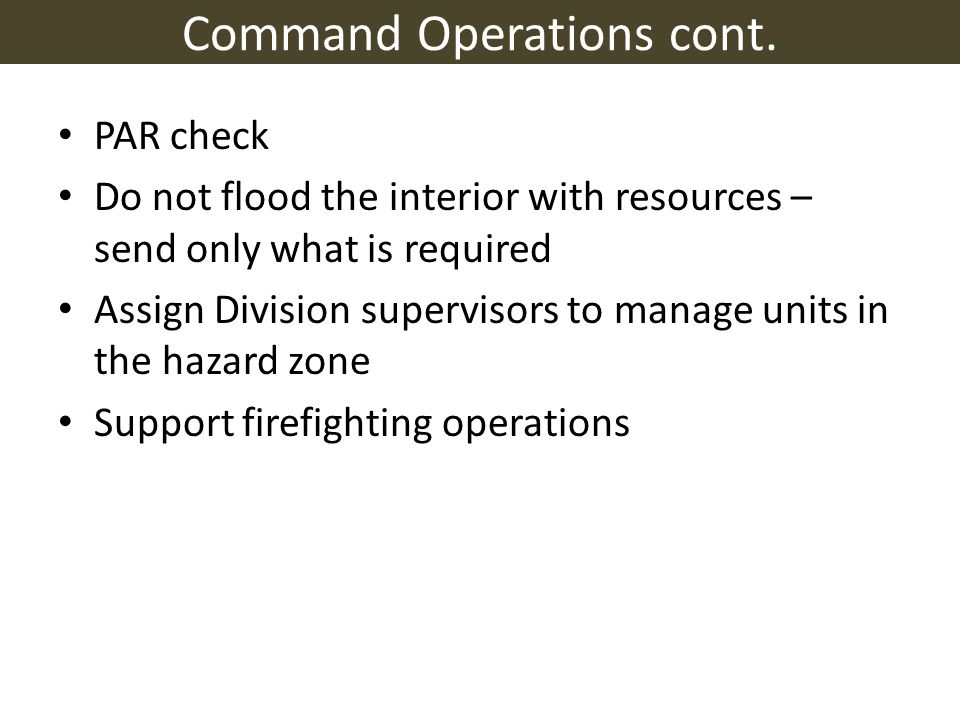 Command Operations cont.