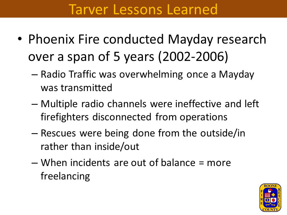 Tarver Lessons Learned