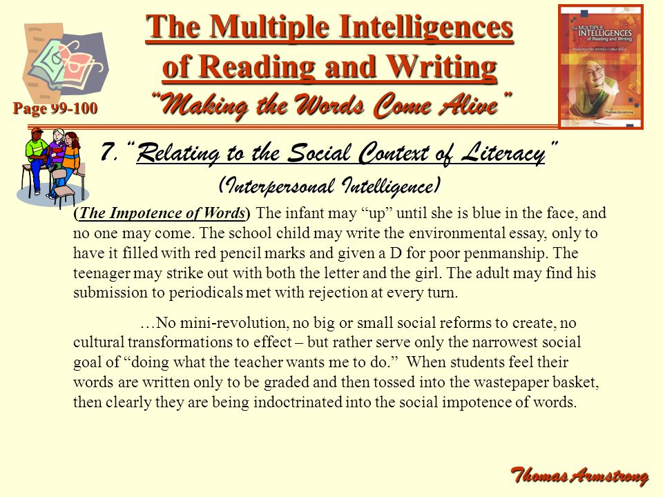 "the multiple intelligences of reading and writing ""making the  the multiple intelligences of reading and writing making the words come alive"