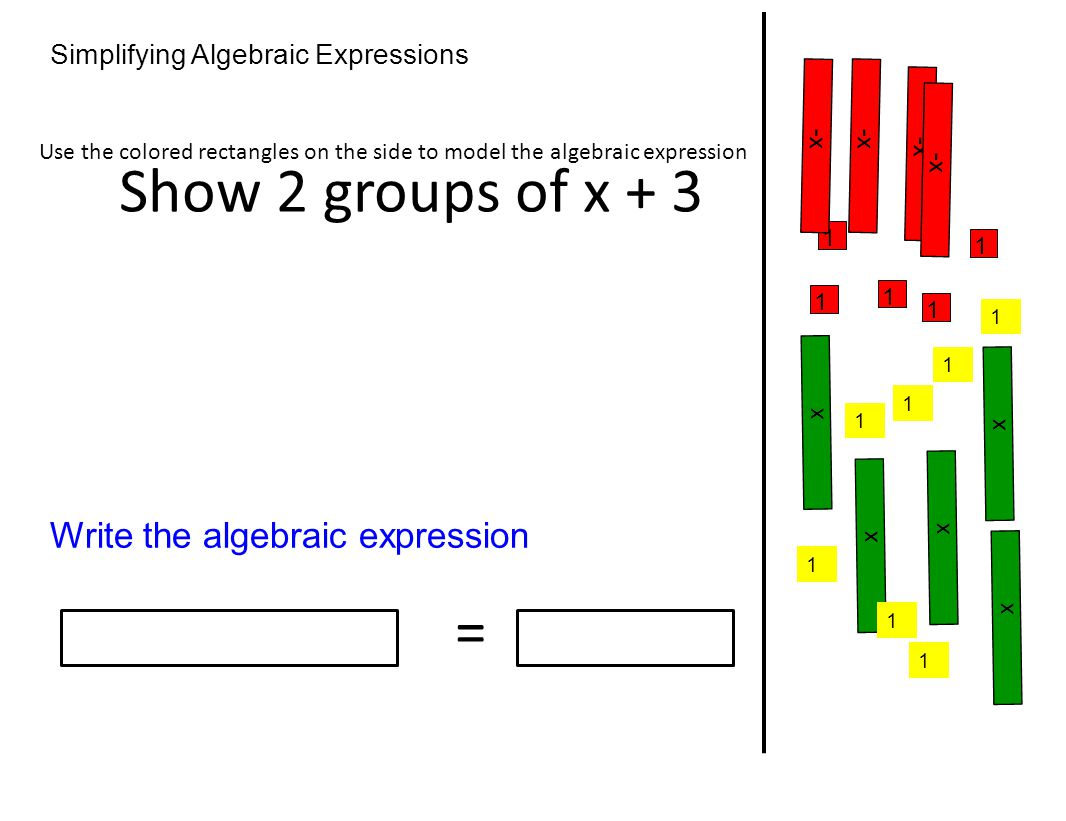 Show 2 groups of x + 3 = Write the algebraic expression
