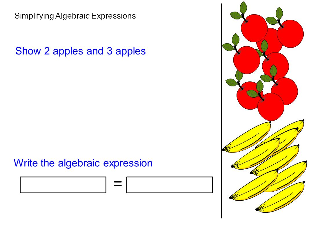 = Show 2 apples and 3 apples Write the algebraic expression