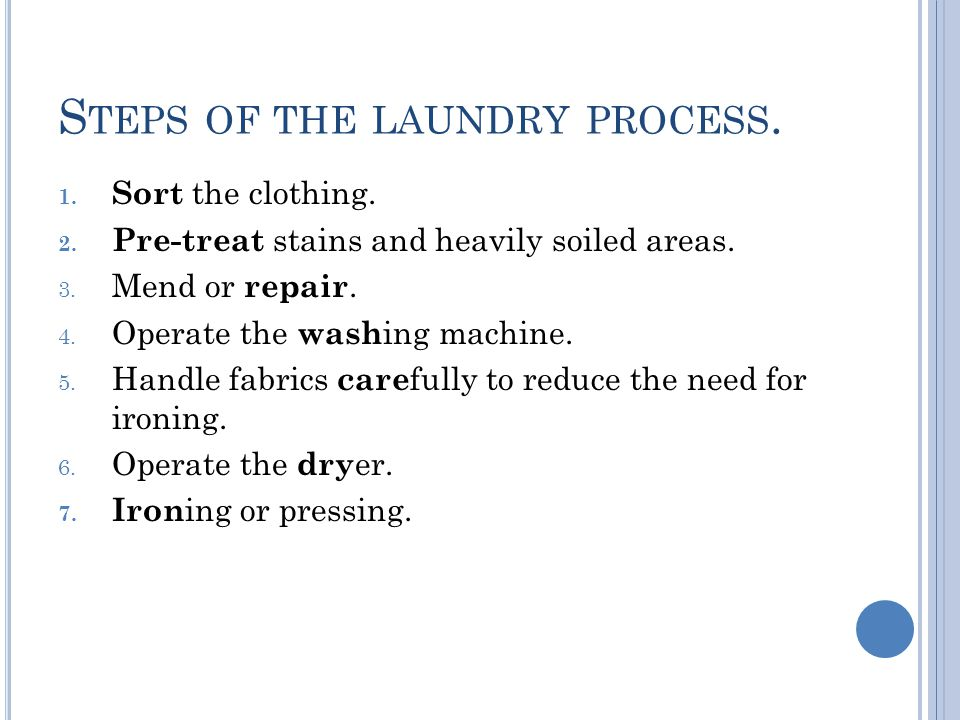 Steps of the laundry process.