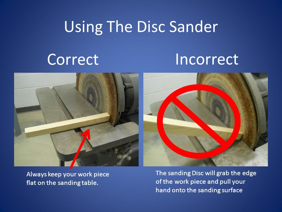 Using The Disc Sander Correct Incorrect