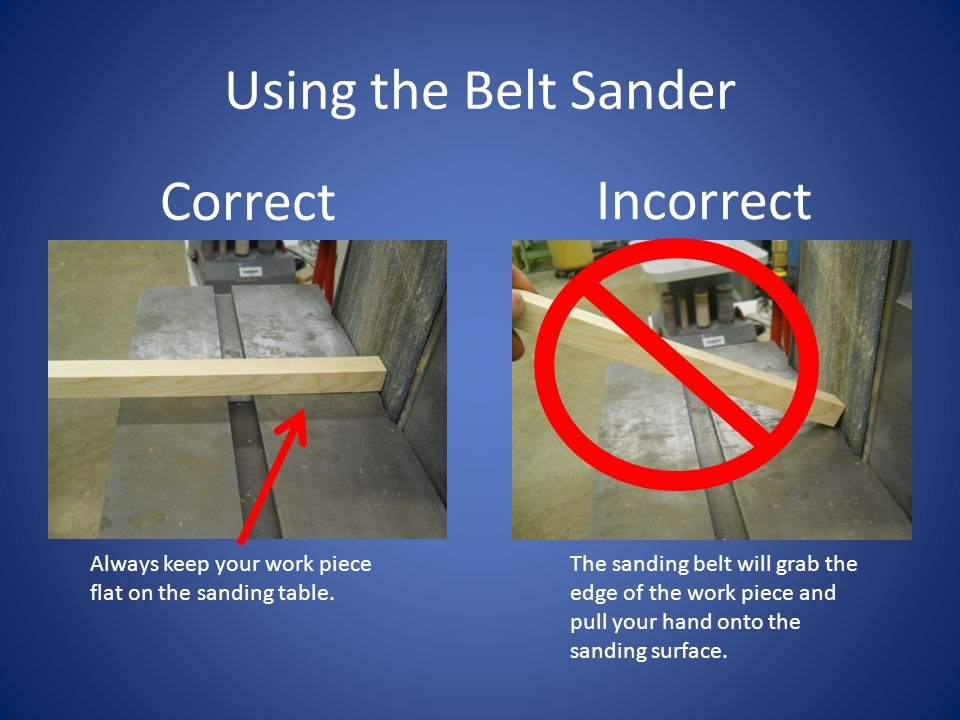 Using the Belt Sander Correct Incorrect