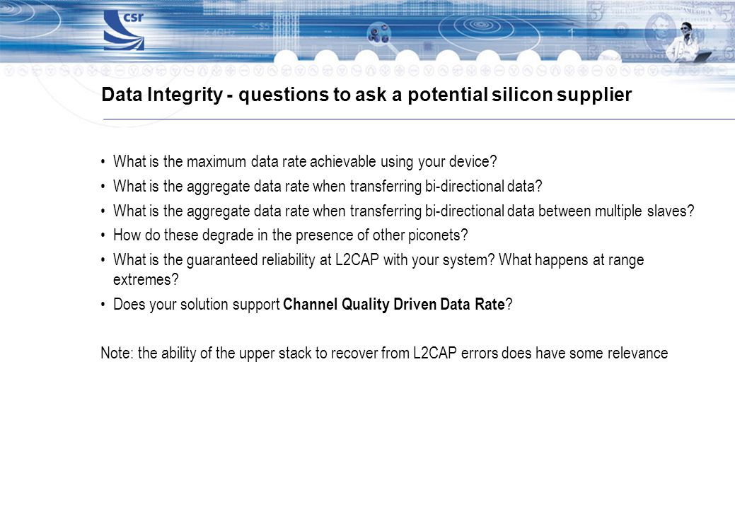 Data Integrity - questions to ask a potential silicon supplier