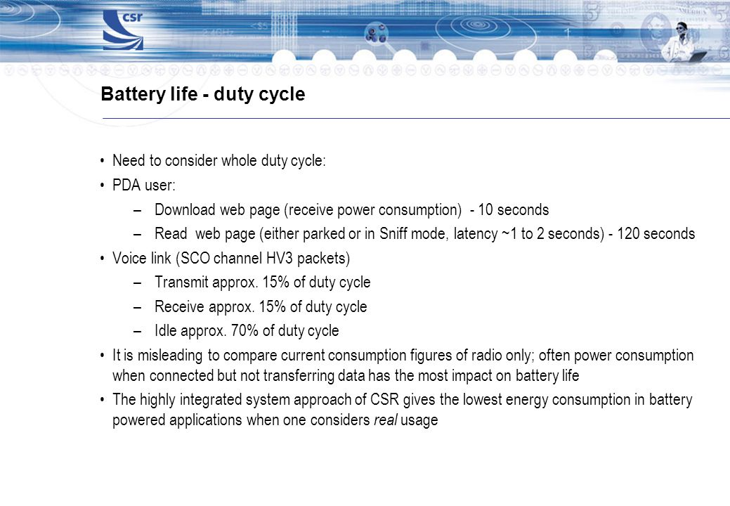 Battery life - duty cycle