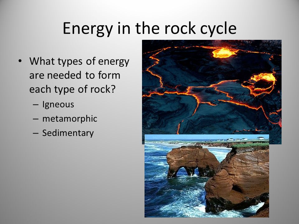 Energy in the rock cycle