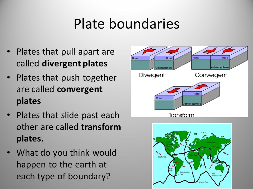 Plate boundaries Plates that pull apart are called divergent plates