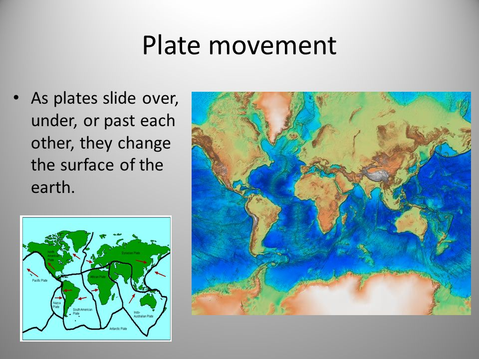 Plate movement As plates slide over, under, or past each other, they change the surface of the earth.