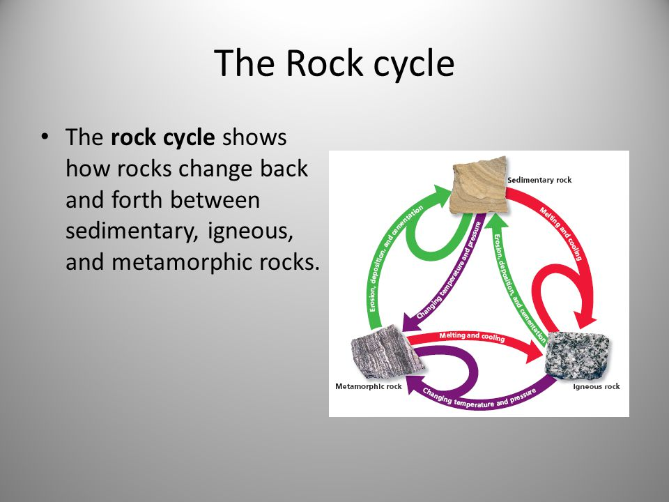 The Rock cycle The rock cycle shows how rocks change back and forth between sedimentary, igneous, and metamorphic rocks.