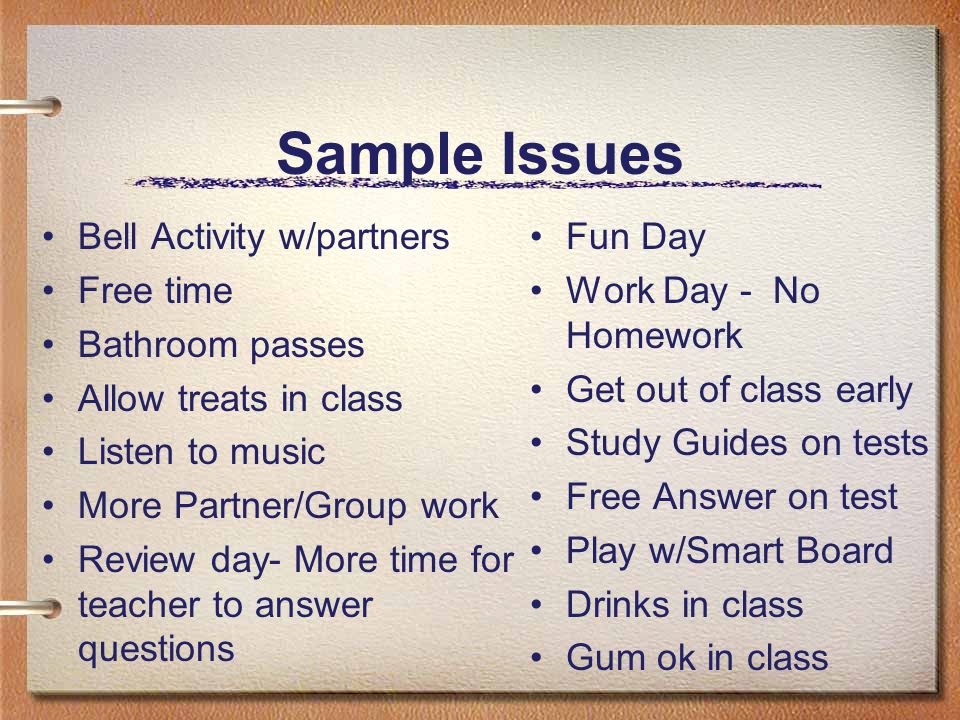 Sample Issues Bell Activity w/partners Free time Bathroom passes