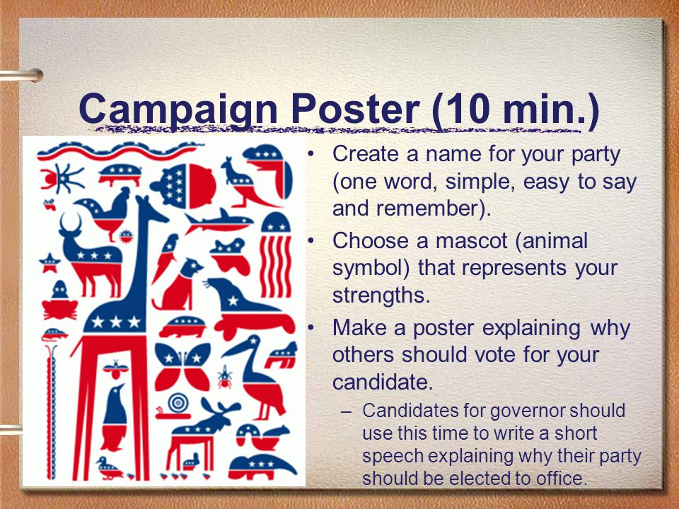 Campaign Poster (10 min.) Create a name for your party (one word, simple, easy to say and remember).