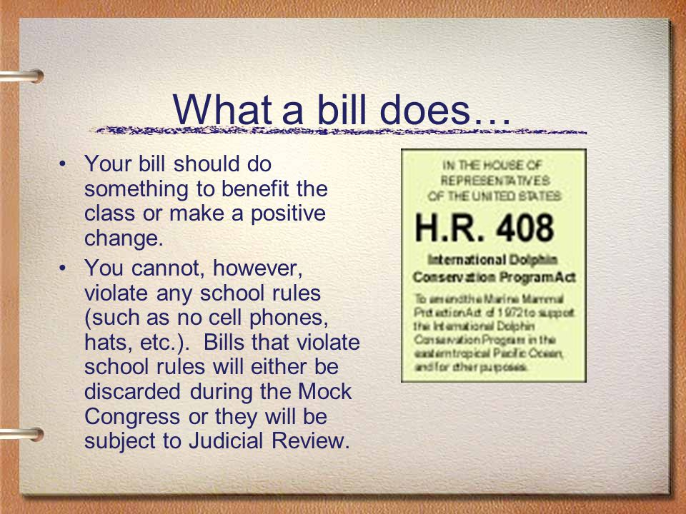 What a bill does… Your bill should do something to benefit the class or make a positive change.