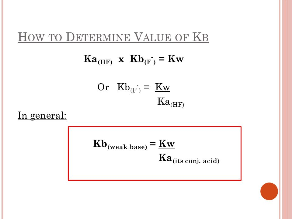 How to Determine Value of Kb