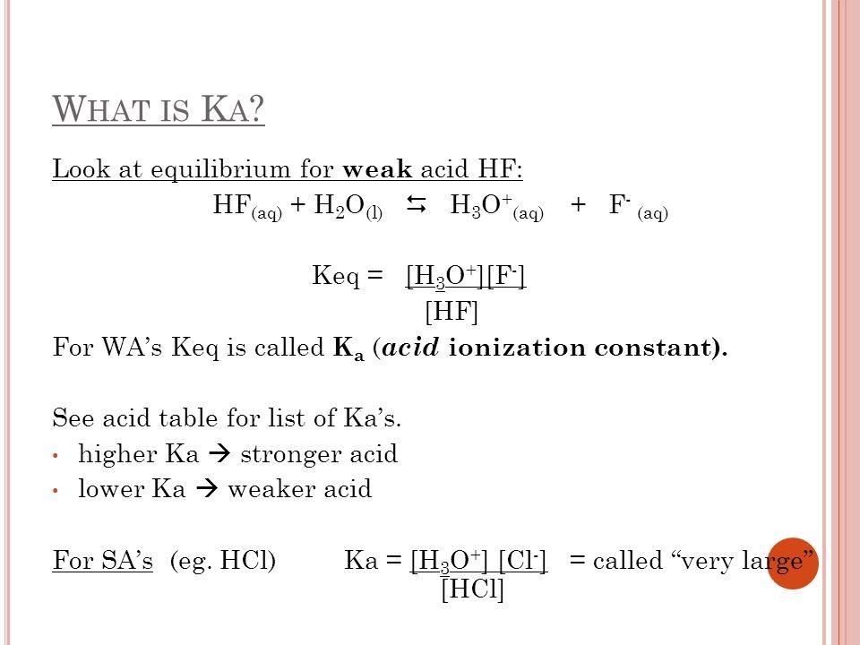 HF(aq) + H2O(l)  H3O+(aq) + F- (aq)