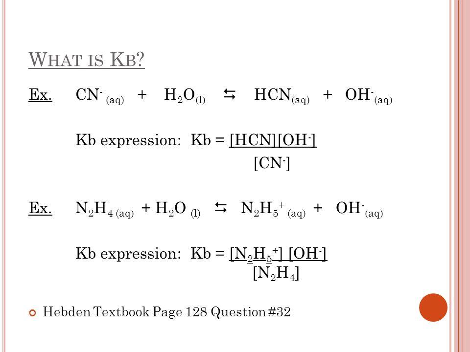 What is Kb Ex. CN- (aq) + H2O(l)  HCN(aq) + OH-(aq)