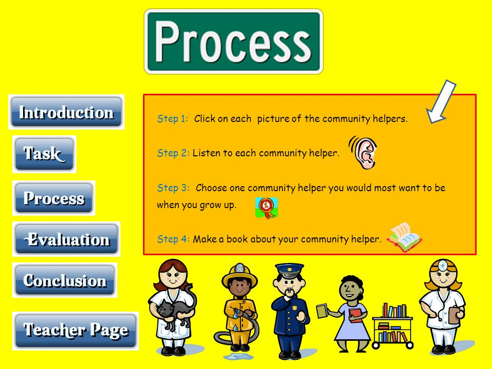 Step 1: Click on each picture of the community helpers.