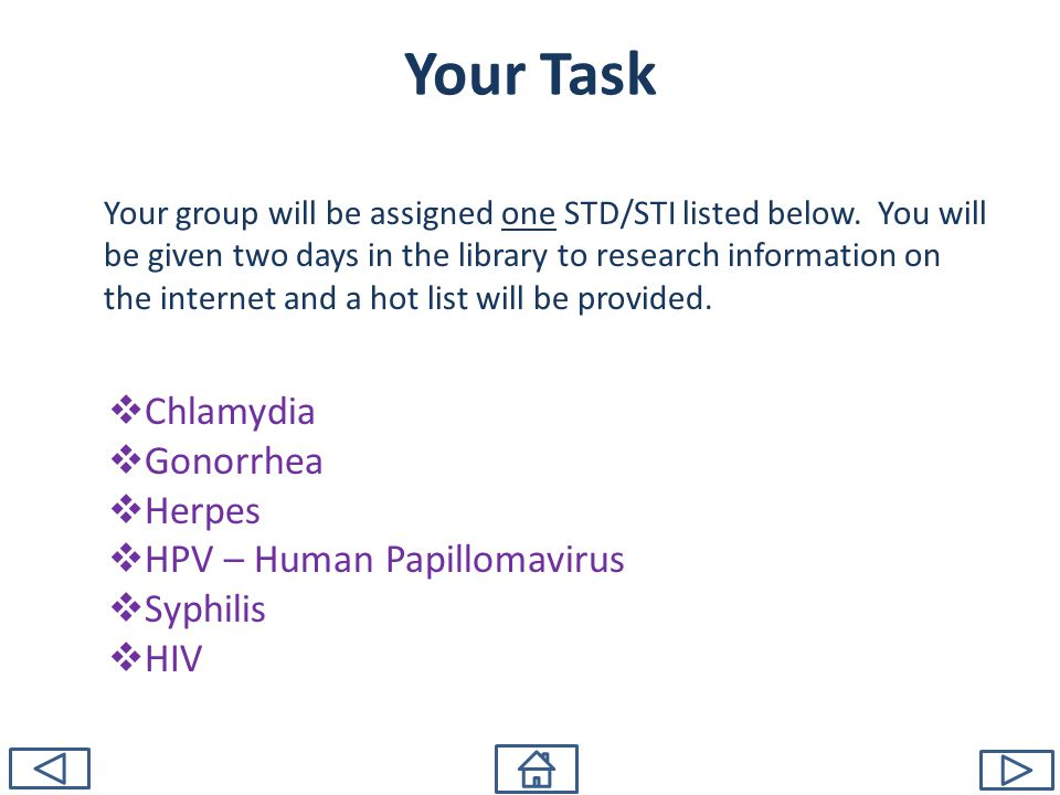 Your Task Chlamydia Gonorrhea Herpes HPV – Human Papillomavirus