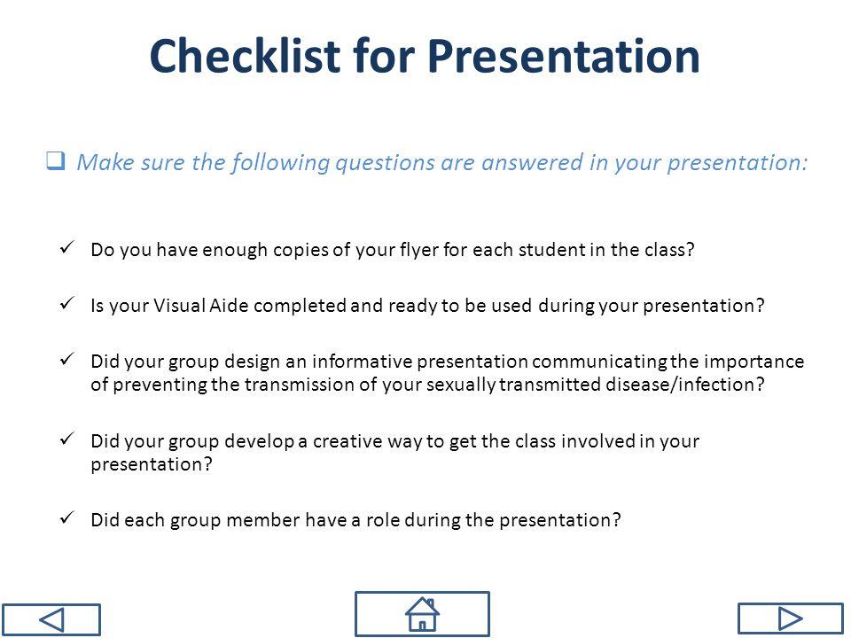 Checklist for Presentation