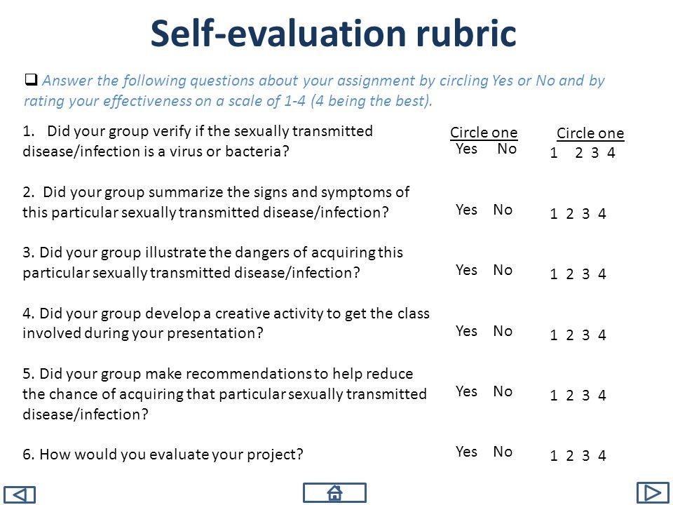Self-evaluation rubric