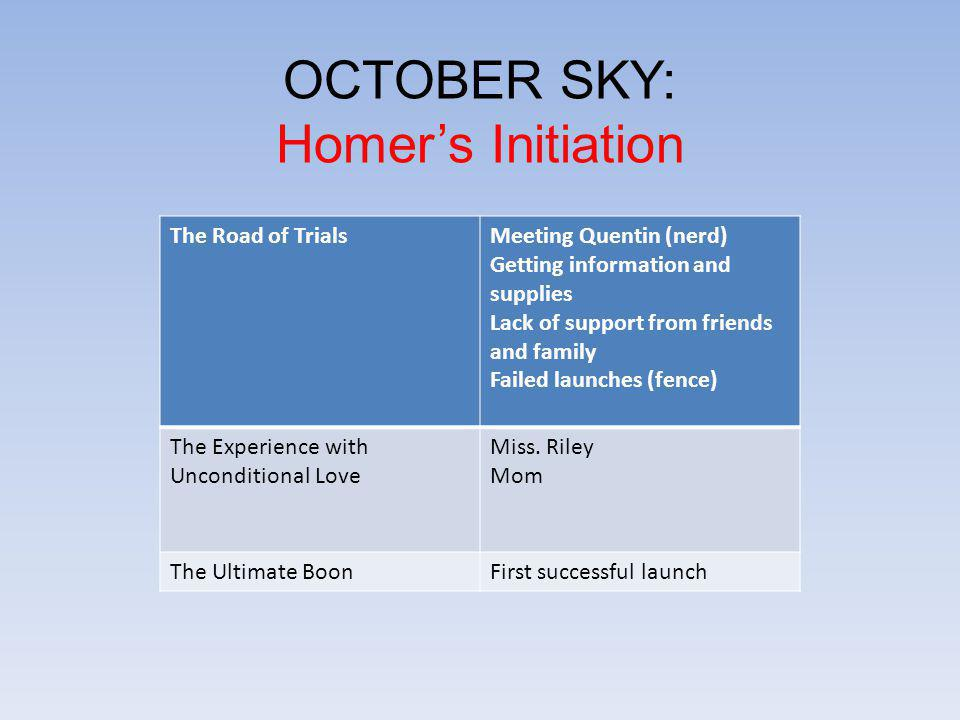 OCTOBER SKY: Homer's Initiation The Road of Trials