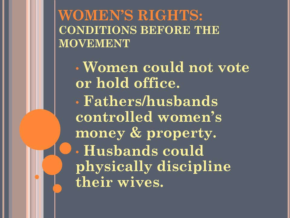 WOMEN'S RIGHTS: CONDITIONS BEFORE THE MOVEMENT