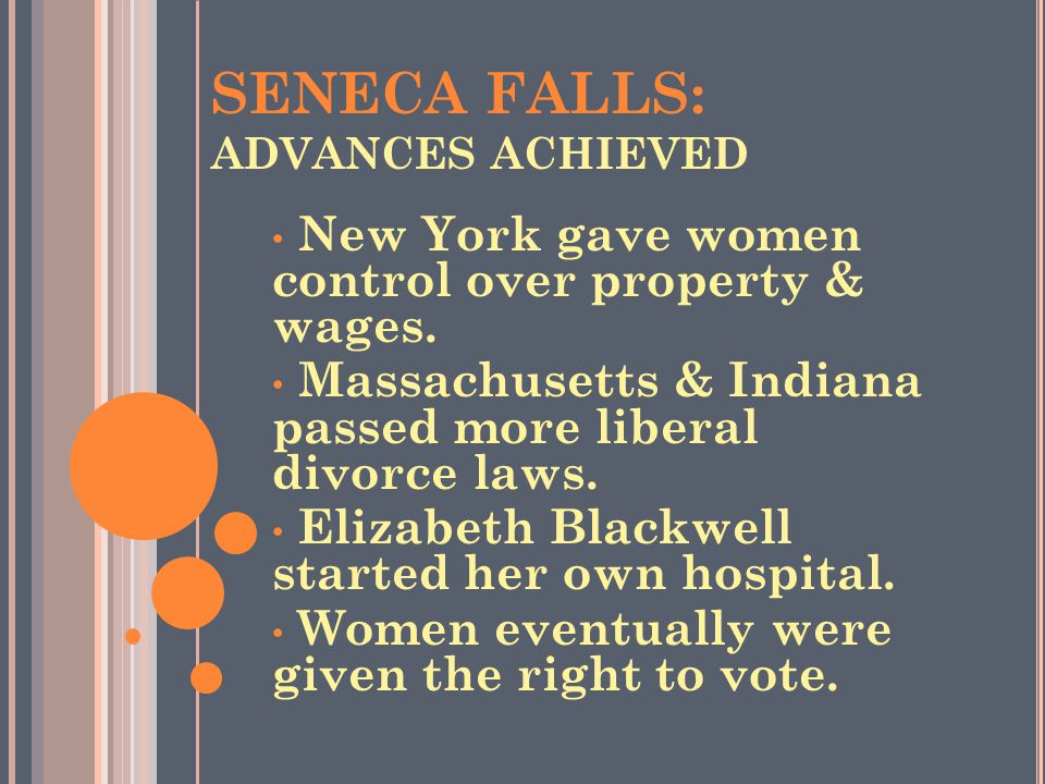 SENECA FALLS: ADVANCES ACHIEVED