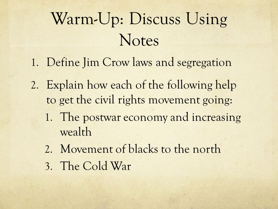 Warm-Up: Discuss Using Notes
