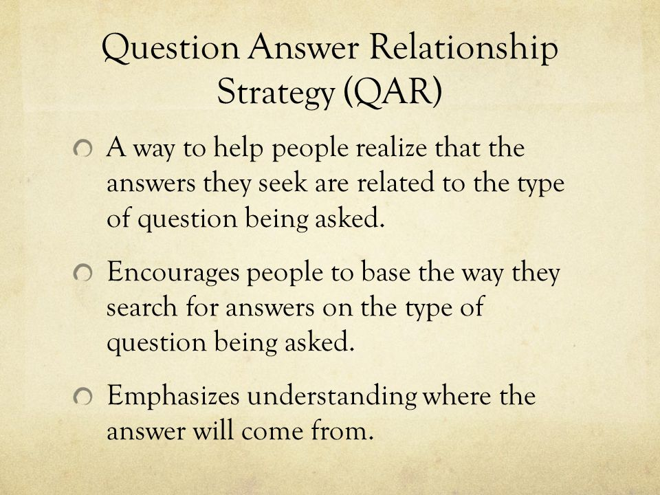 Question Answer Relationship Strategy (QAR)