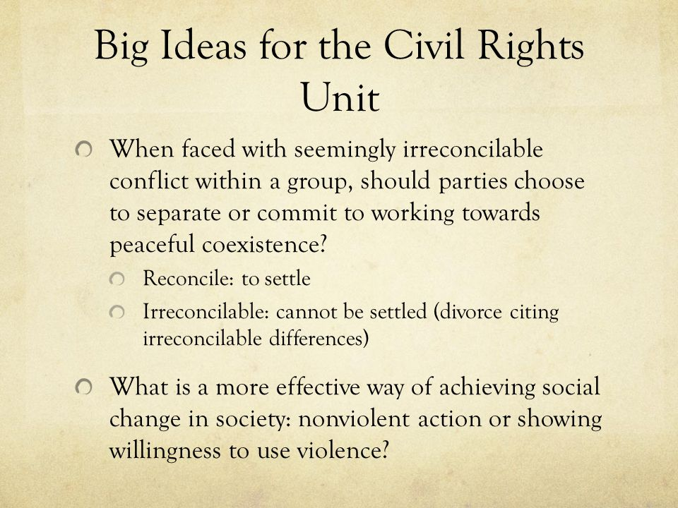 Big Ideas for the Civil Rights Unit