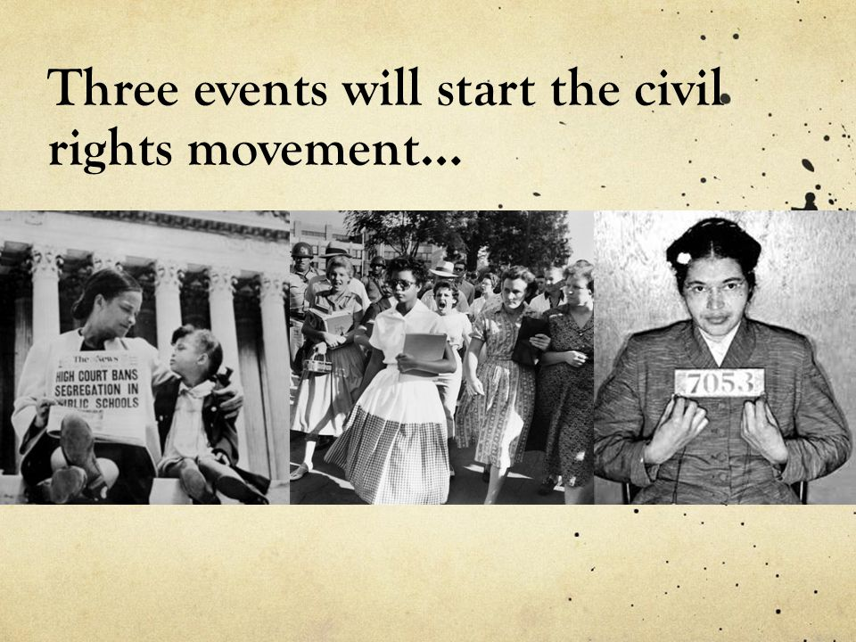 Three events will start the civil rights movement…